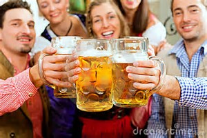 Group cheers with beer